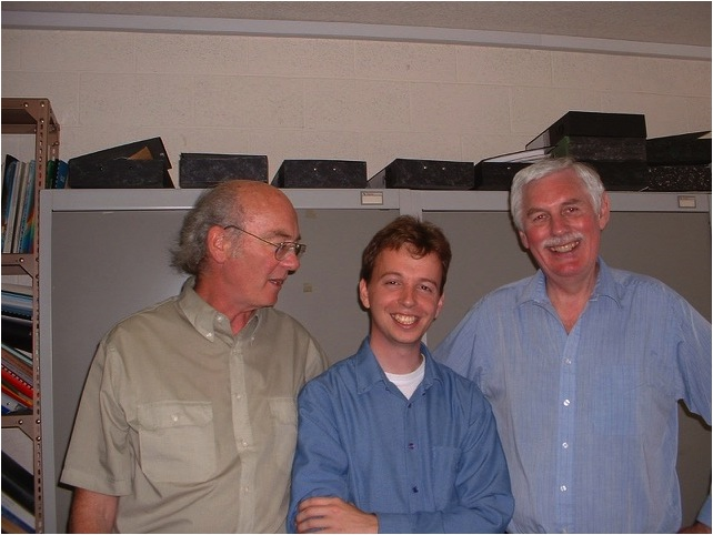 Figure 5. Graham Jeffries (left), Trevor Baker (right) and Machiel Bos (centre). Machiel came from the Netherlands to Bidston from 1996-2000 to do his PhD. on research into ocean tide loading. He now works at the University Beira Interior, Portugal and has continued to collaborate with Bidston/NOC on various projects.